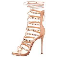 Giuseppe Zanotti NEW Blush Satin Rhinestone Stud Evening Sandals Heels in Box