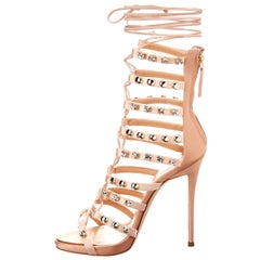 Giuseppe Zanotti NEW Blush Satin Rhinestone Stud Evening Sandals Heels in Box