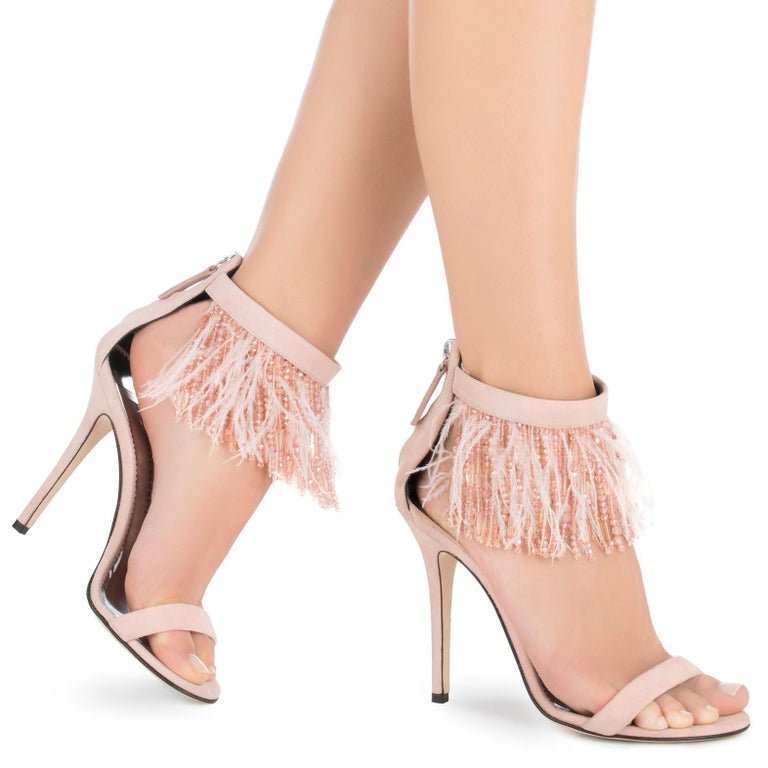 Giuseppe Zanotti NEW Blush Suede Bead Feather Evening Sandals Heels in Box   Size IT 39 Suede Bead Feather Made in Italy Ankel zip closure Heel height 4.5
