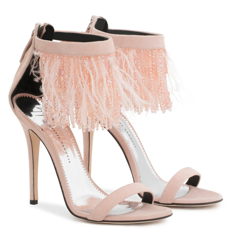 Beige Giuseppe Zanotti NEW Blush Suede Bead Feather Evening Sandals Heels in Box  For Sale