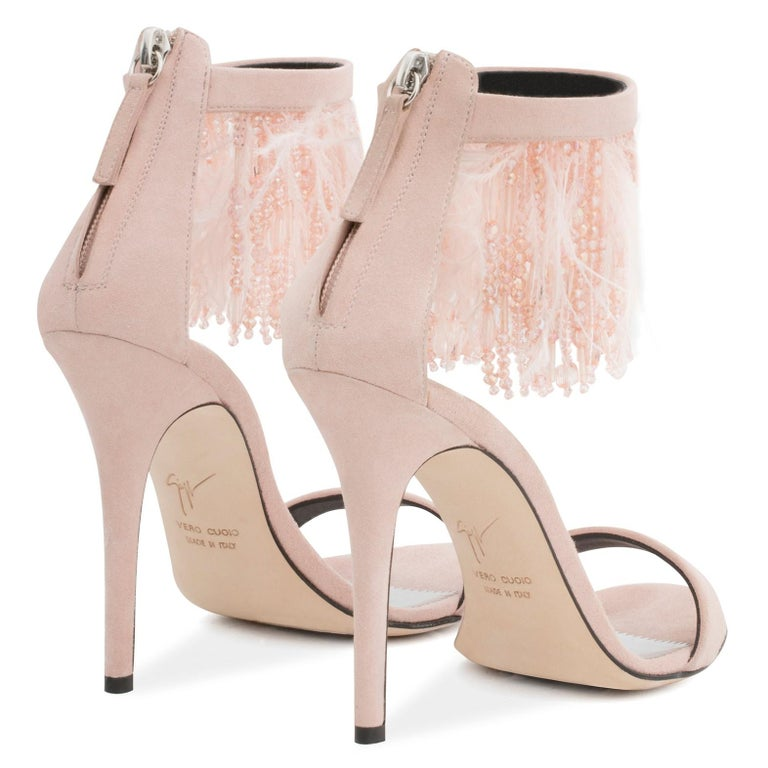 Giuseppe Zanotti NEW Blush Suede Bead Feather Evening Sandals Heels in Box  In New Condition For Sale In Chicago, IL
