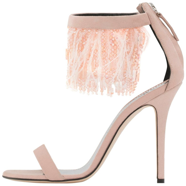 Giuseppe Zanotti NEW Blush Suede Bead Feather Evening Sandals Heels in Box  For Sale