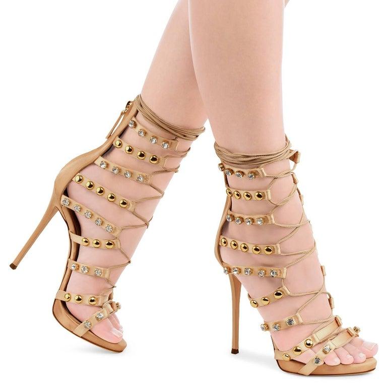Giuseppe Zanotti New Blush Suede Gold Stud Jewel Evening Sandals Heels in Box  Size IT 36 Suede Metal Rhinestone Made in Italy Zipper closure Heel height 4.75