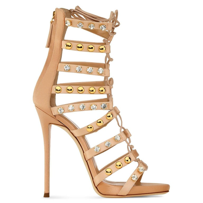 Giuseppe Zanotti New Blush Suede Gold Jewel Evening Sandals Heels in Box In New Condition For Sale In Chicago, IL