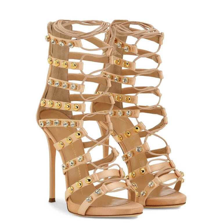 Women's Giuseppe Zanotti New Blush Suede Gold Jewel Evening Sandals Heels in Box For Sale