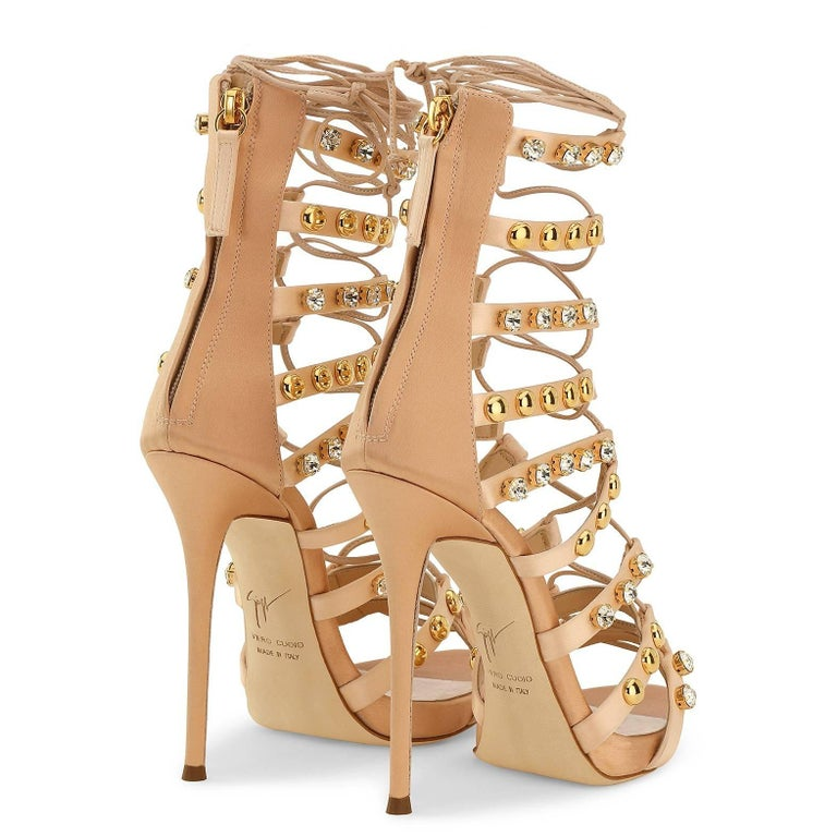 Giuseppe Zanotti New Blush Suede Gold Jewel Evening Sandals Heels in Box For Sale 1