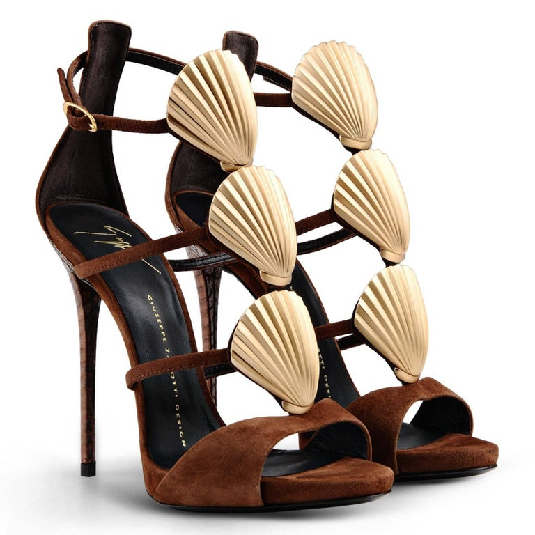 Giuseppe Zanotti New Brown Suede Gold Shell Evening Sandals Heels in Box  Size IT 36 Python embossed leather Suede Metal Made in Italy Zipper closure Heel height 4.75