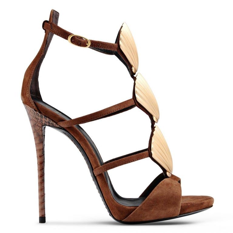 Giuseppe Zanotti Brown Suede Gold Shell Evening Sandals Heels  In New Never_worn Condition For Sale In Chicago, IL