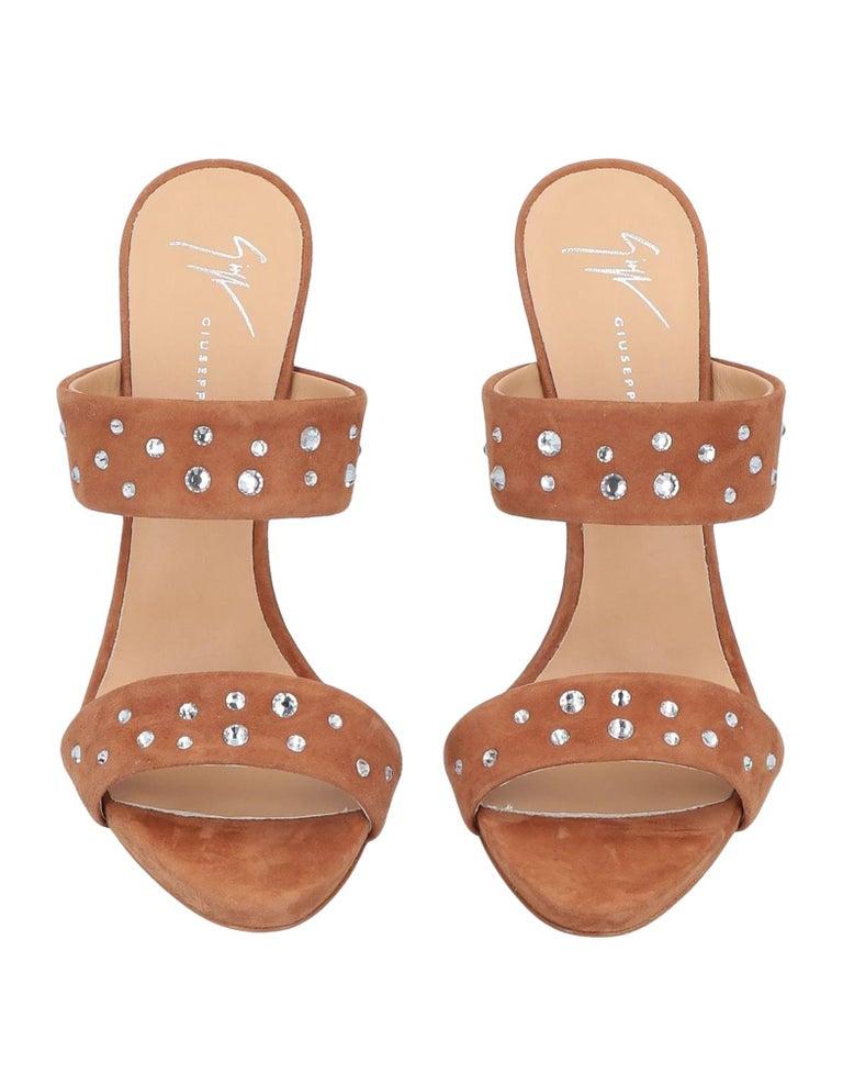 Giuseppe Zanotti NEW Cognac Rhinestone Slides Mules Evening Sandals Heels in Box  Size IT 36 Suede Rhinestone Slide in  Made in Italy Heel height 5