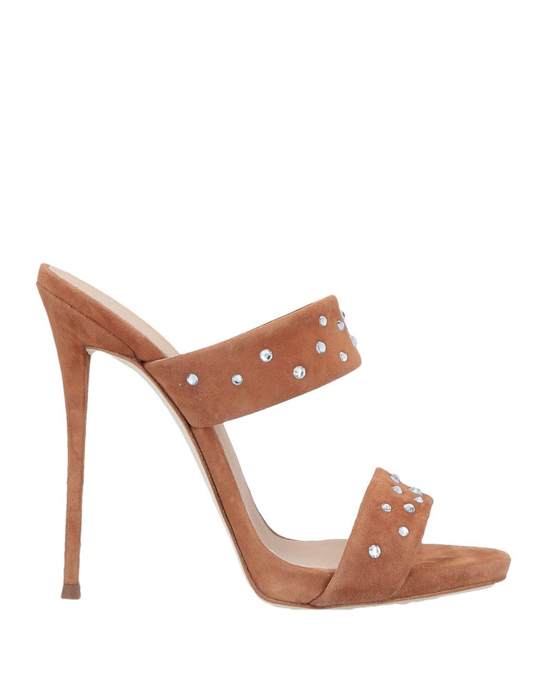 Brown Giuseppe Zanotti NEW Cognac Suede Slides Mules Evening Sandals Heels in Box For Sale