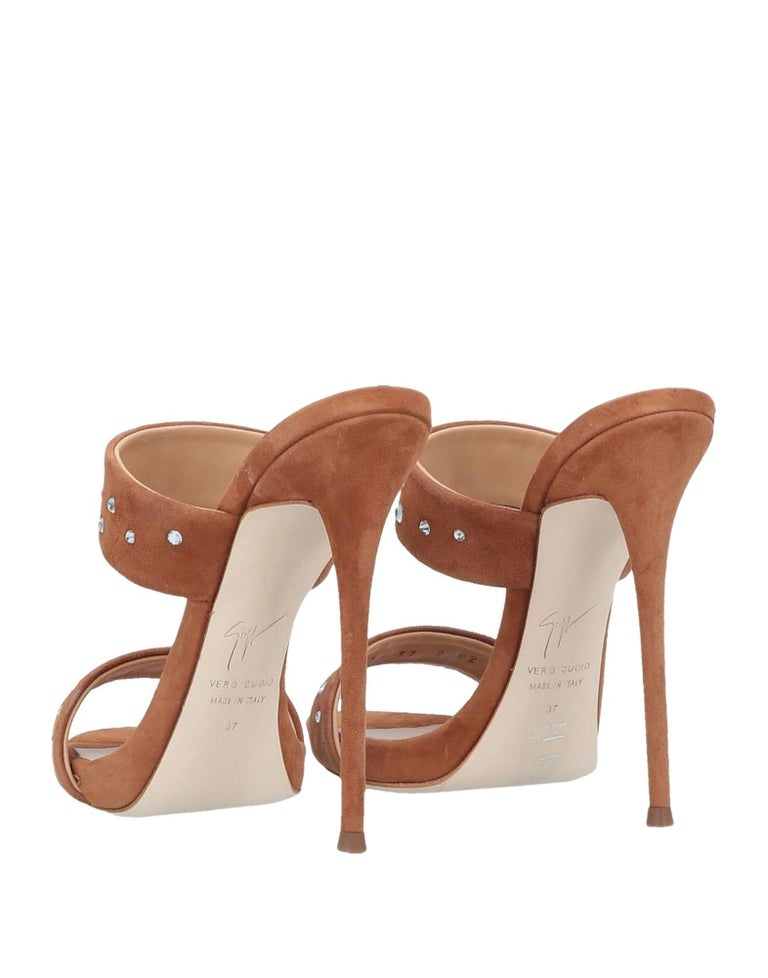 Giuseppe Zanotti NEW Cognac Suede Slides Mules Evening Sandals Heels in Box In New Condition For Sale In Chicago, IL