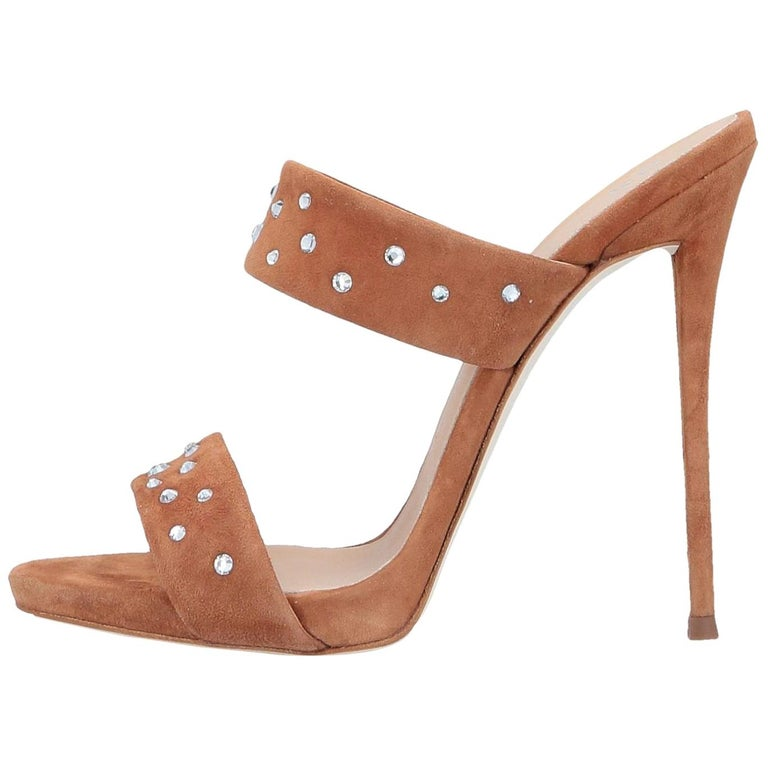 Giuseppe Zanotti NEW Cognac Suede Slides Mules Evening Sandals Heels in Box For Sale