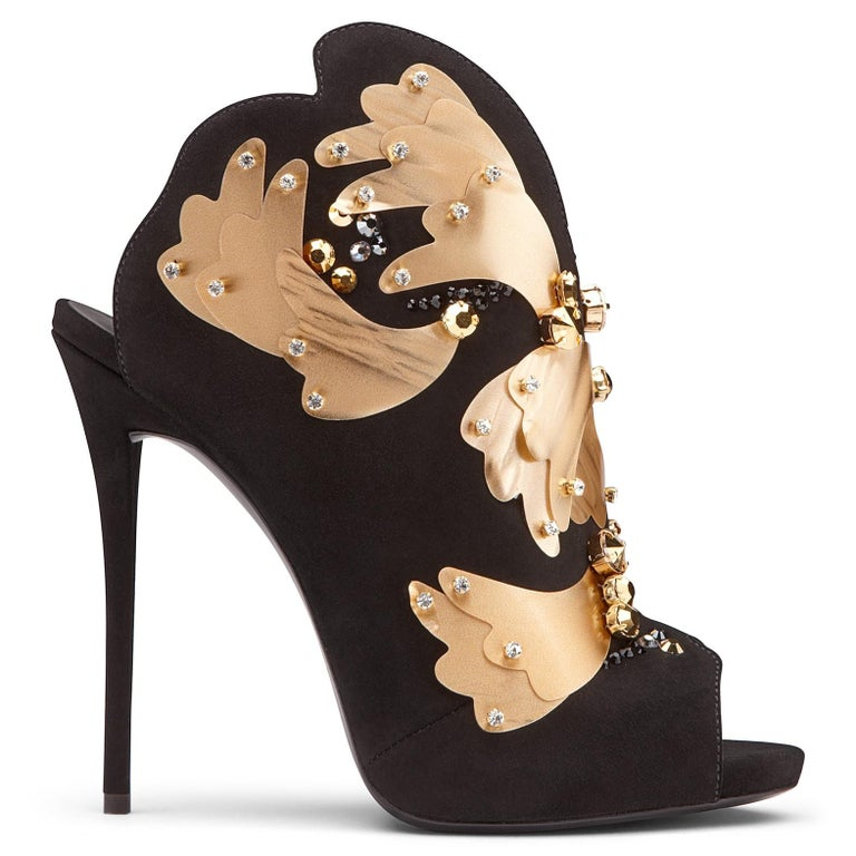 Giuseppe Zanotti NEW Evening Black Suede Gold Crystal Shoes Sandals Heels in Box In New Condition For Sale In Chicago, IL