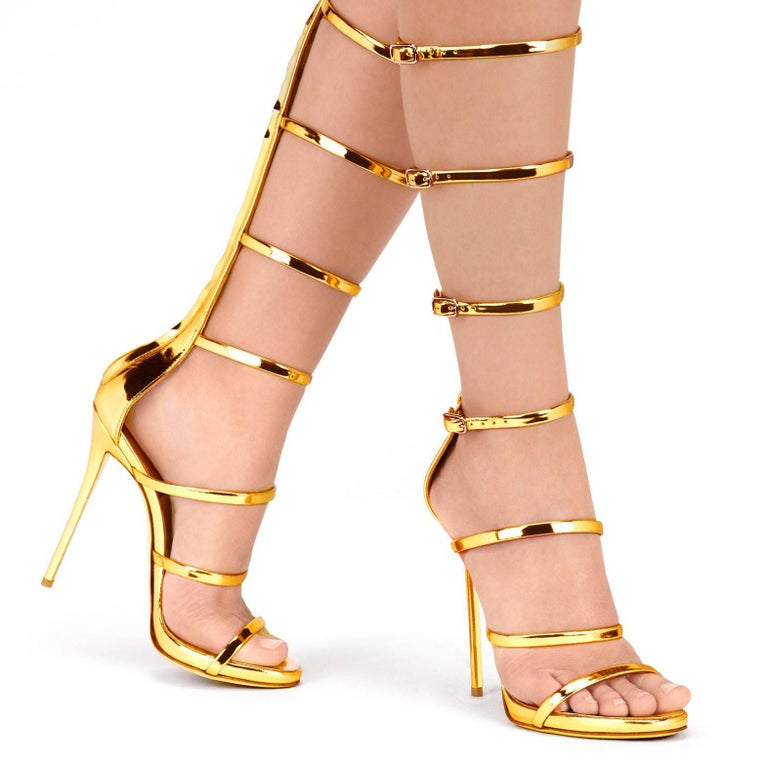 Giuseppe Zanotti NEW Gold  Patent Leather Evening High Gladiator Sandals Heels in Box  Size IT 36 Patent leather Buckle and zipper closures Made in Italy Heel height 4.75
