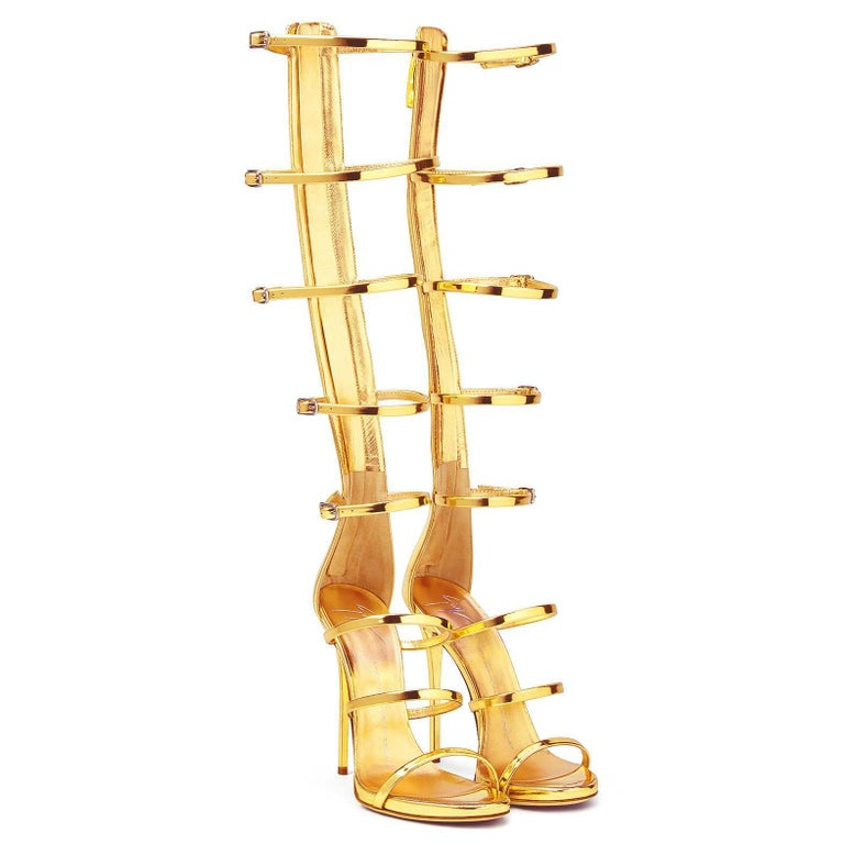 Giuseppe Zanotti NEW Gold Patent Evening High Gladiator Sandals Heels in Box In New Condition For Sale In Chicago, IL