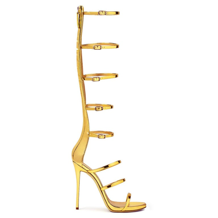 Women's Giuseppe Zanotti NEW Gold Patent Evening High Gladiator Sandals Heels in Box For Sale