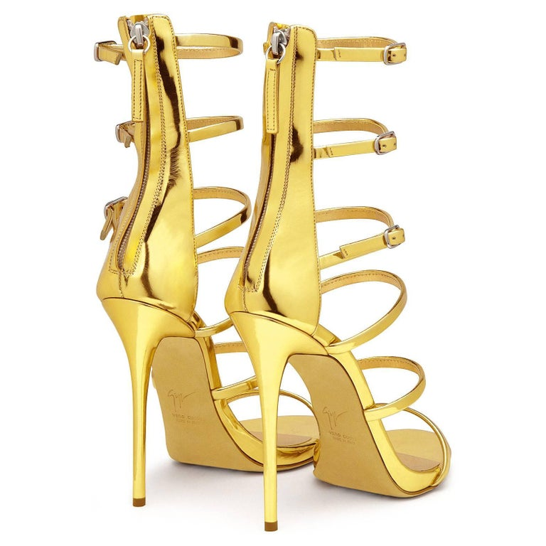 Giuseppe Zanotti NEW Gold Patent Evening Low Gladiator Sandals Heels in Box For Sale 1