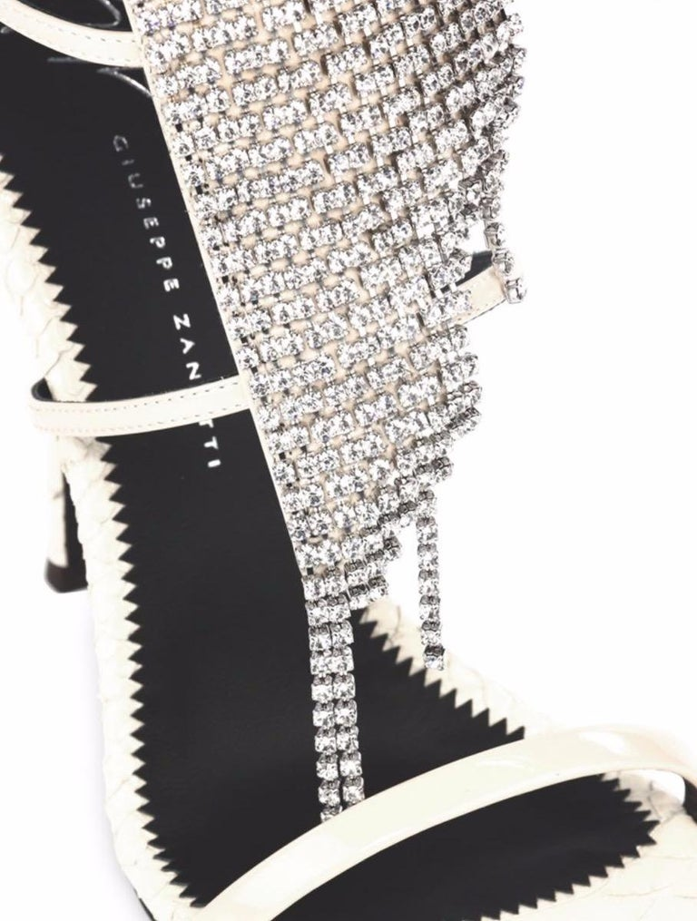 Giuseppe Zanotti NEW Ivory Leather Crystal Strappy Evening Sandals Heels in Box  Size IT 40.5 Lleather Crystal Ankle zip closure Made in Italy Heels height 4.5
