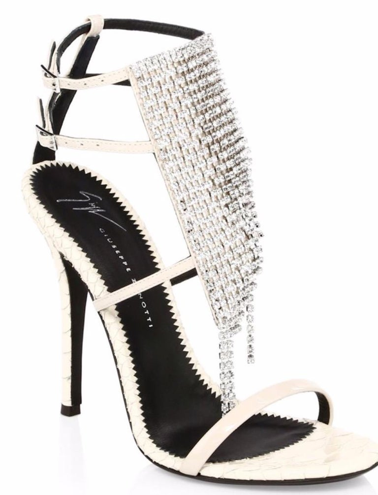 Beige Giuseppe Zanotti NEW Ivory Leather Crystal Strappy Evening Sandals Heels in Box For Sale