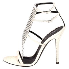 Giuseppe Zanotti NEW Ivory Leather Crystal Strappy Evening Sandals Heels in Box