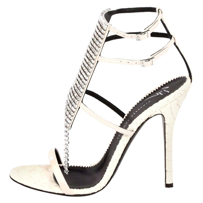 Giuseppe Zanotti NEW Ivory Leather Crystal Strappy Evening Sandals Heels in Box For Sale