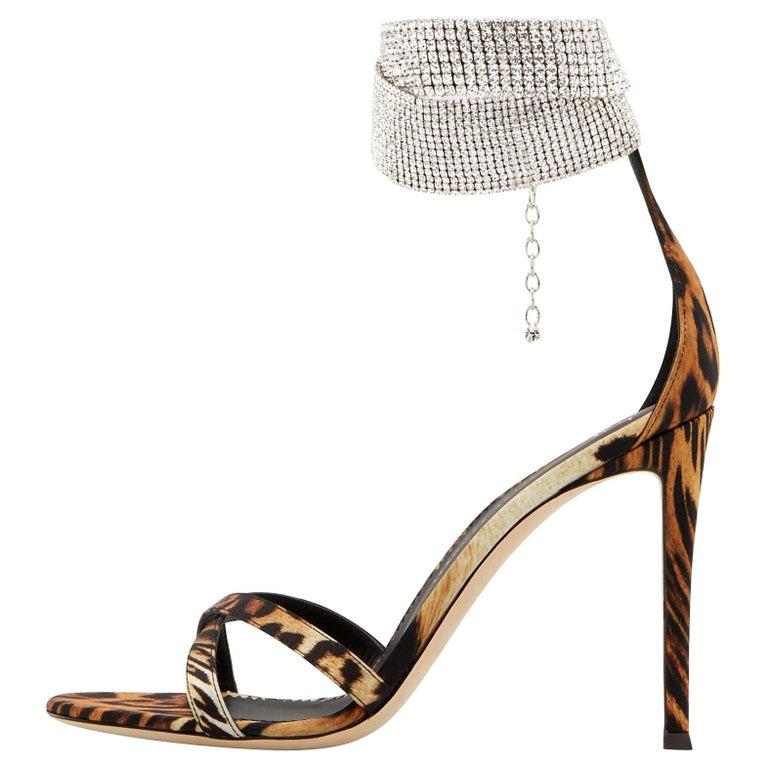Giuseppe Zanotti NEW Leopard Leather Rhinestone Evening Sandals Heels in Box For Sale