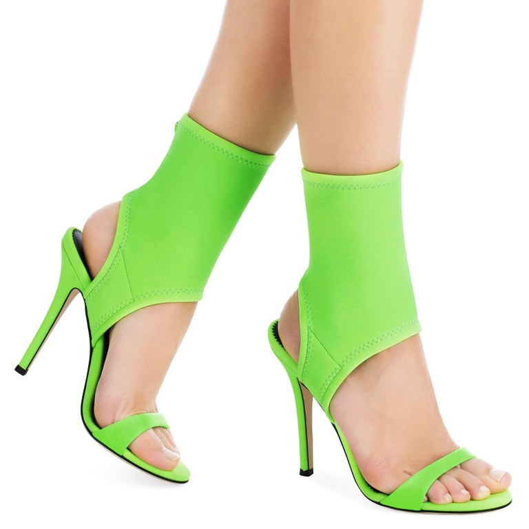 Giuseppe Zanotti NEW Lime Green Neon Neoprene Sock Evening Boots Booties Heels in Box  Size IT 36 Neoprene Pull on Made in Italy Heel height 4.5