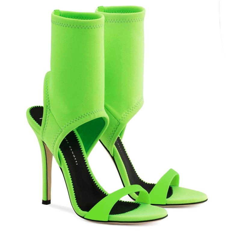 Giuseppe Zanotti NEW Lime Green Neoprene Sock Evening Boots Booties Heels in Box In New Condition For Sale In Chicago, IL