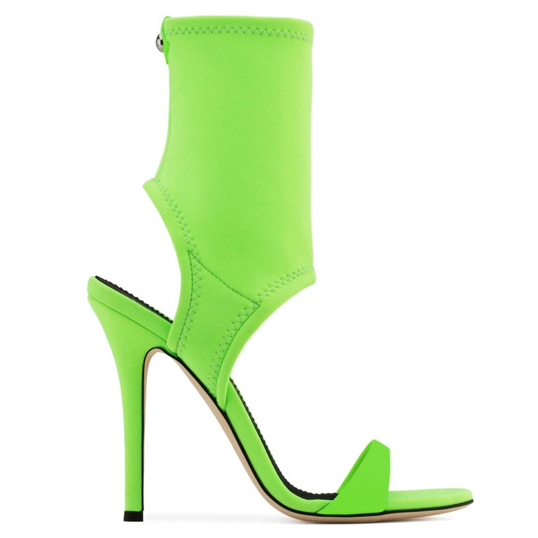 Women's Giuseppe Zanotti NEW Lime Green Neoprene Sock Evening Boots Booties Heels in Box For Sale