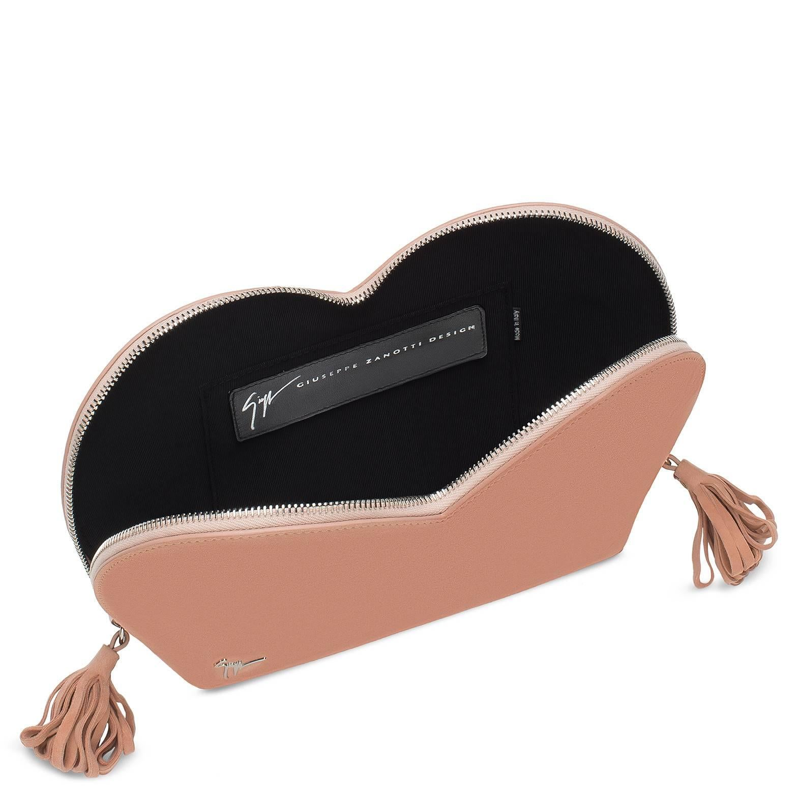 Giuseppe Zanotti Logo Blush Suede Dual Tassel Evening Clutch Bag
