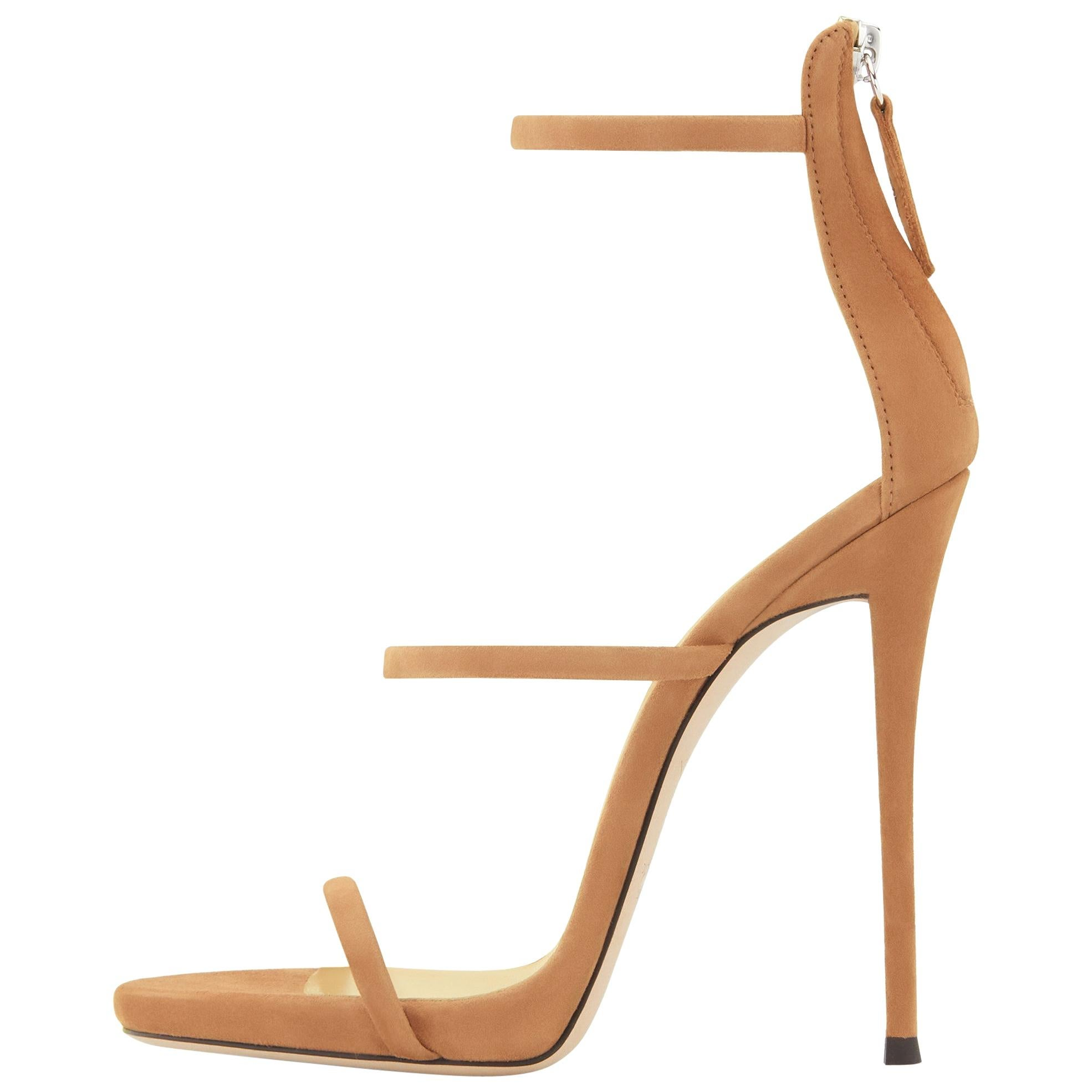 Giuseppe Zanotti NEW Nude Tan Suede Strappy Evening Sandals Heels in Box (IT 41)