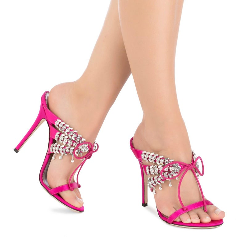 Giuseppe Zanotti NEW Pink Crystal Slide in Mules Sandals Heels in Box  Size IT 36 Satin Crystal Slide on Tie closures Made in Italy Heel height 4.5