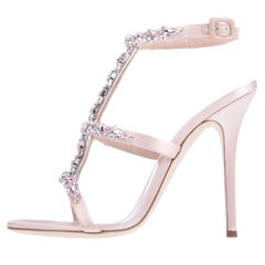 Giuseppe Zanotti NEW Pink Satin Rhinestone Evening Sandals Heels in Box