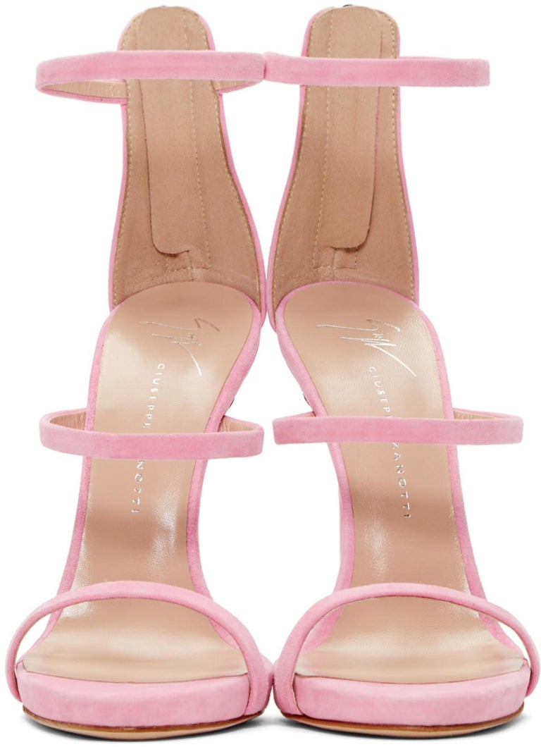 Giuseppe Zanotti NEW Pink Suede Strappy Evening Sandals Heels in Box  Size IT 36 Suede Ankle zip closure Made in Italy Heels height 4.75