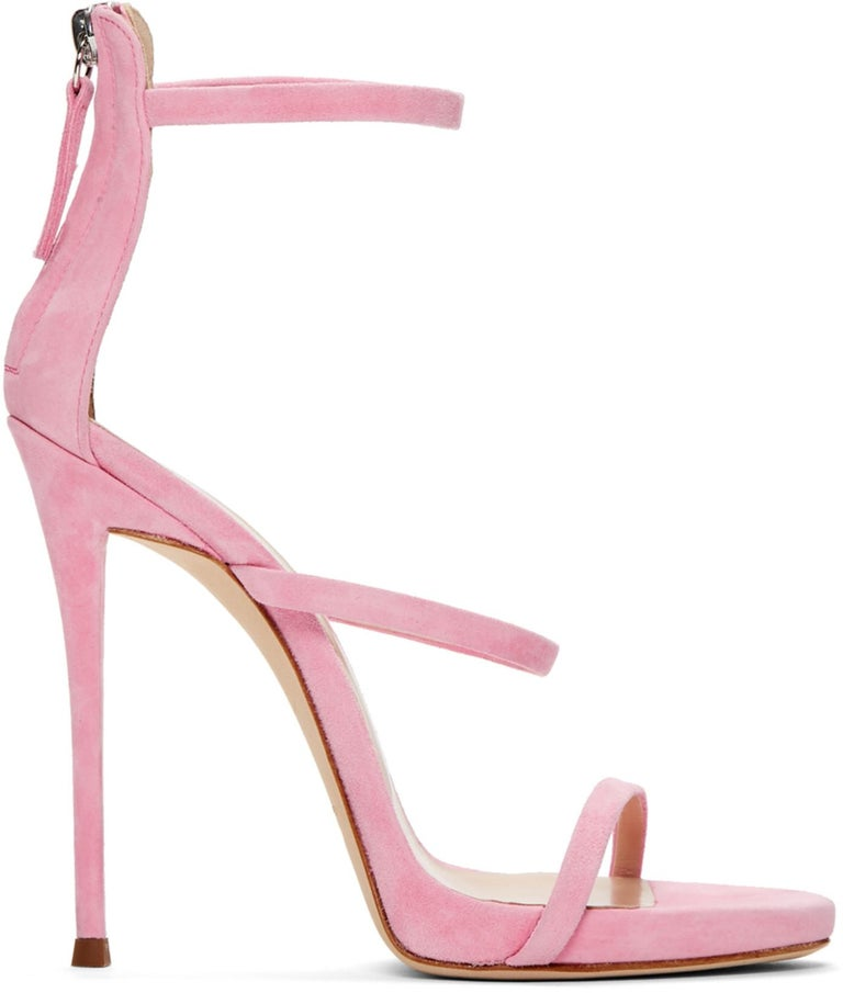 Giuseppe Zanotti NEW Pink Suede Strappy Evening Sandals Heels in Box In New Condition For Sale In Chicago, IL