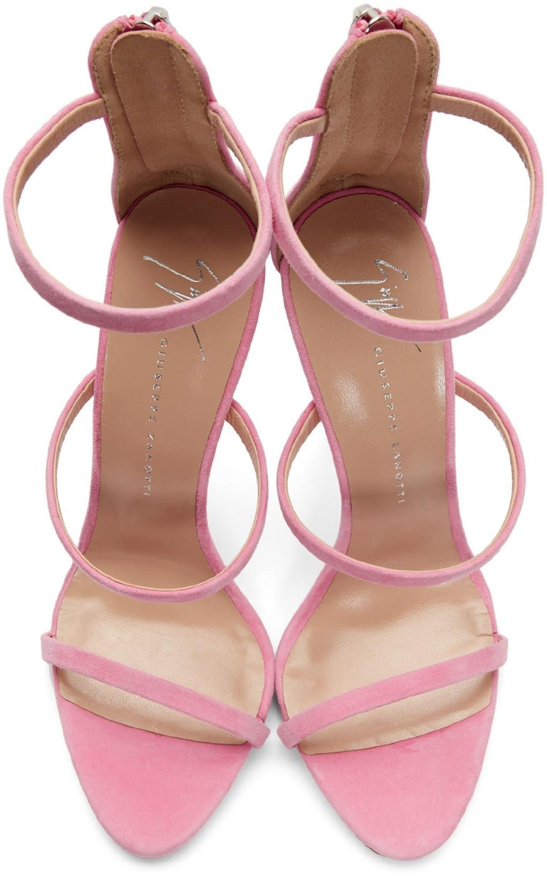 Women's Giuseppe Zanotti NEW Pink Suede Strappy Evening Sandals Heels in Box For Sale