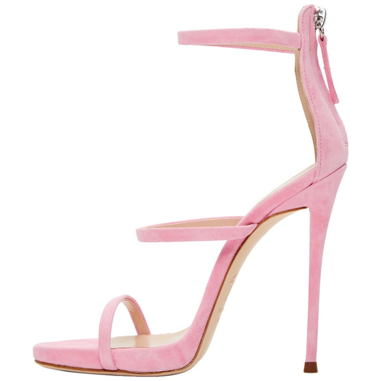 Giuseppe Zanotti NEW Pink Suede Strappy Evening Sandals Heels in Box For Sale
