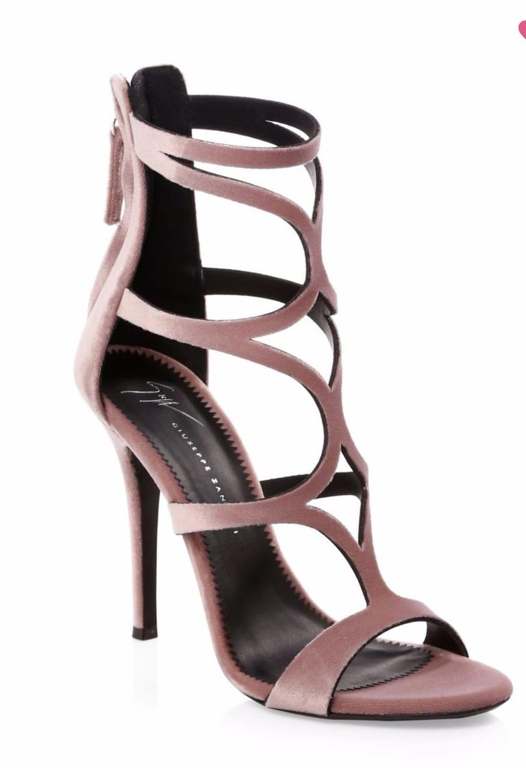 Brown Giuseppe Zanotti NEW Pink Velvet Strappy Evening Sandals Heels in Box For Sale