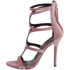 Giuseppe Zanotti NEW Pink Velvet Strappy Evening Sandals Heels in Box