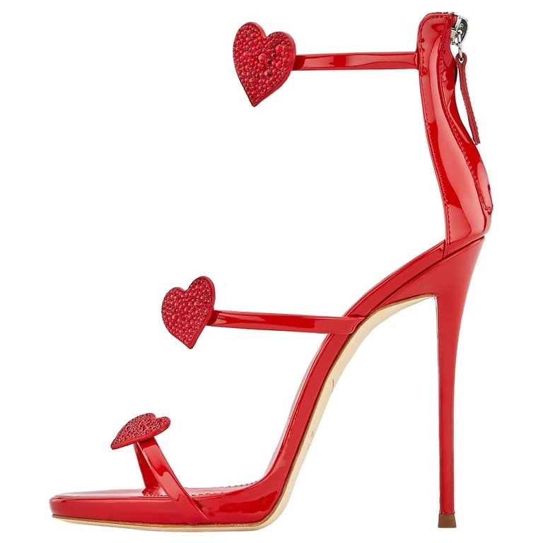 Giuseppe Zanotti NEW Red Patent Heart Crystal Evening Sandals Heels in Box For Sale