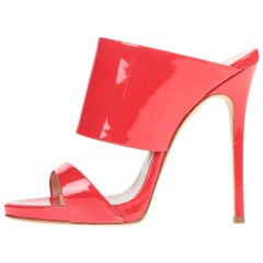 Giuseppe Zanotti NEW Red Patent Slides Mules Evening Sandals Heels in Box