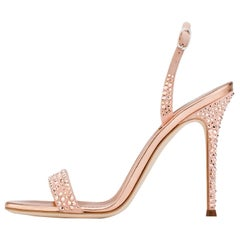Giuseppe Zanotti NEW Rose Gold Suede Crystal Evening Sandals Heels in Box