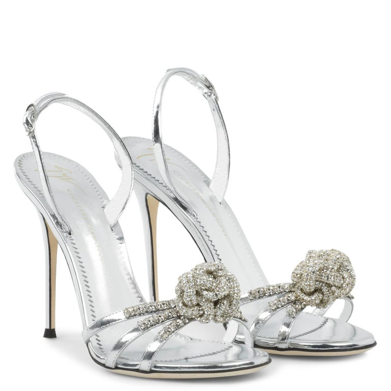 Giuseppe Zanotti NEW Silver Patent Leather Crystal Sandals Heels in Box  Size IT 36 Patent leather Crystal Ankle buckle closures Made in Italy Heel height 4.5