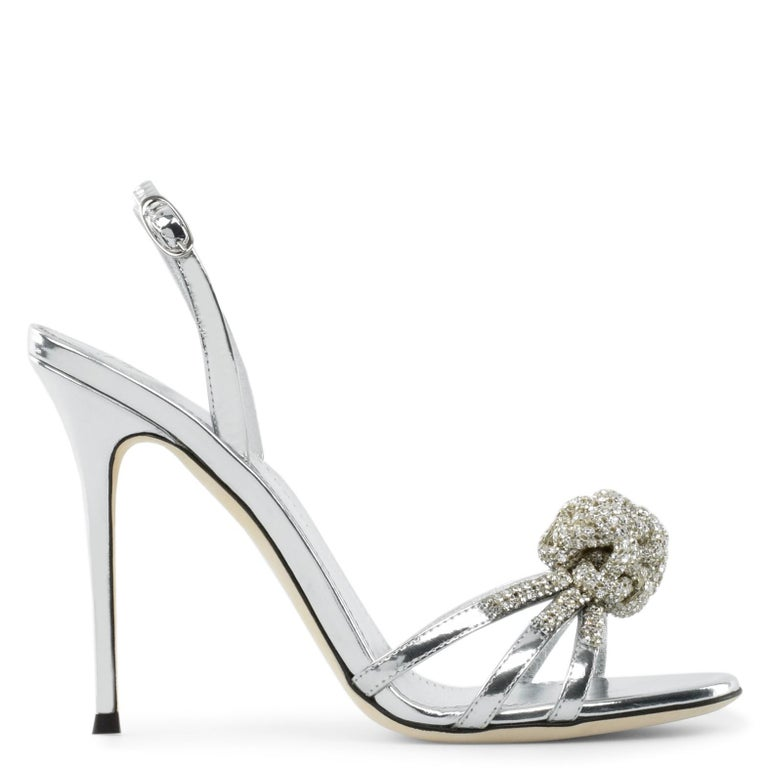 Giuseppe Zanotti NEW Silver Patent Leather Crystal Sandals Heels in Box In New Condition For Sale In Chicago, IL