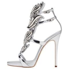 Giuseppe Zanotti NEW Silver Patent Metal Cruel Evening Sandals Heels in Box