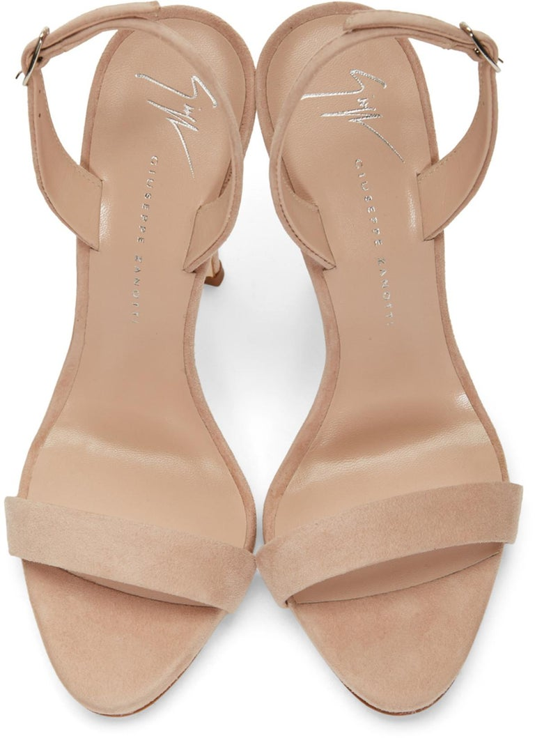 Giuseppe Zanotti NEW Tan Nude Beige Suede Strappy Evening Sandals Heels in Box  Size IT 36.5 Suede Ankle zip closure Made in Italy Heels height 4.75