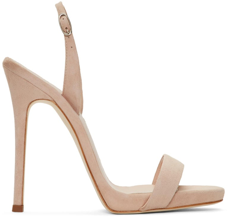 Giuseppe Zanotti NEW Tan Nude Beige uede Strappy Evening Sandals Heels in Box In New Condition For Sale In Chicago, IL