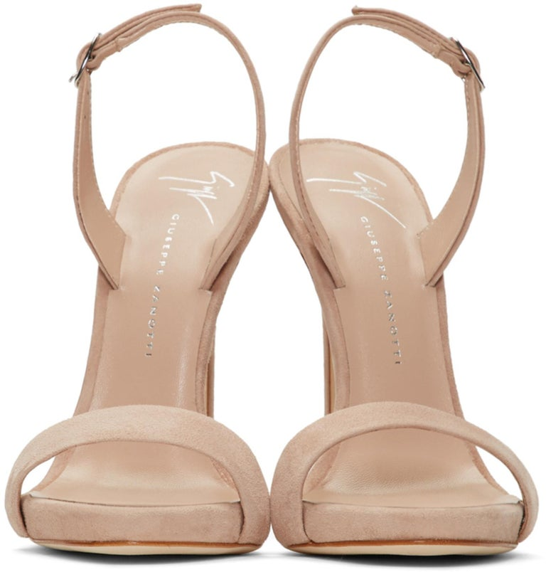 Women's Giuseppe Zanotti NEW Tan Nude Beige uede Strappy Evening Sandals Heels in Box For Sale