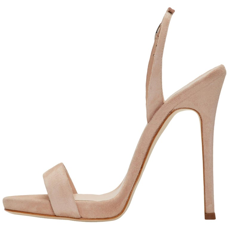 Giuseppe Zanotti NEW Tan Nude Beige uede Strappy Evening Sandals Heels in Box For Sale