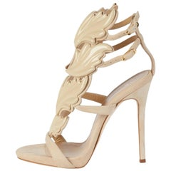 Giuseppe Zanotti NEW Tan Nude Suede Strappy Evening Sandals Heels in Box